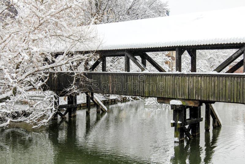 Nuremberg, Niemcy - zimy śnieżna rzeka obrazy royalty free
