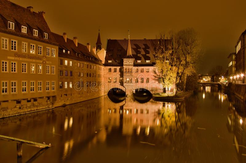 Nuremberg at night royalty free stock image