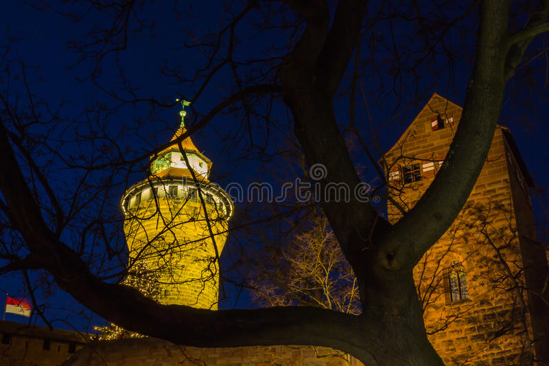 Nuremberg (Nuernberg), Germany-night old town-Imperial Castle royalty free stock photos