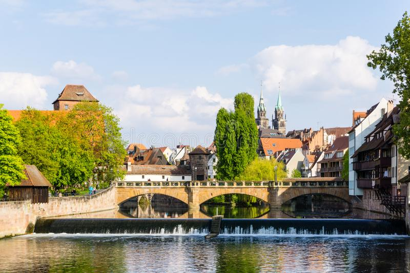 Nuremberg panorama with Weinstadel and Lorenzkirche at blue sky royalty free stock image