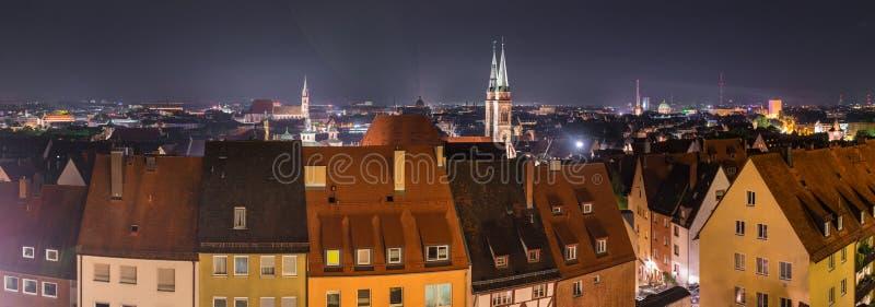 Nuremberg Tyskland, cityscapepanorama arkivbild