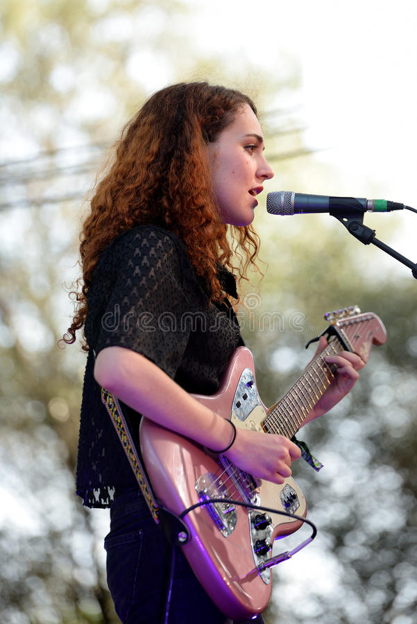 Nuria Graham singer and guitarist from Vic performs at Vida Festival royalty free stock images