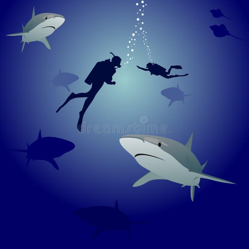 nurków akwalungu rekiny royalty ilustracja