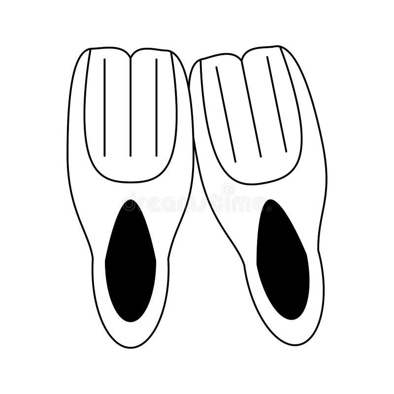 Nurkowa żebra wyposażenia kreskówka czarny i biały ilustracja wektor