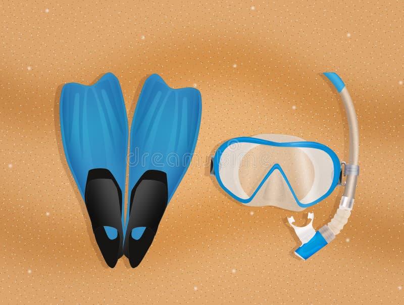 Nurkowa maska, snorkel i żebra na plaży, royalty ilustracja