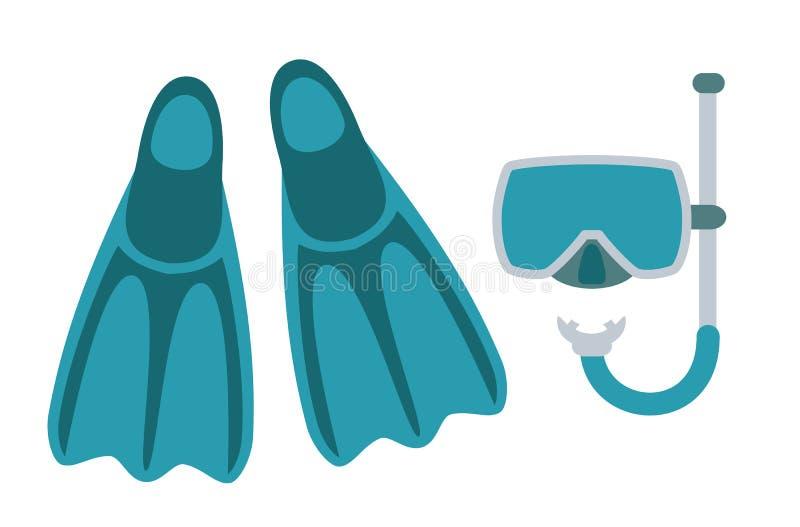 Nurkowa maska, snorkel i kapcie odizolowywający na białym tle, ilustracji
