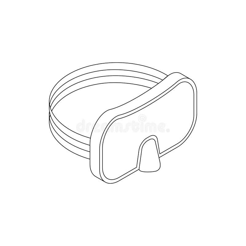 Nurkowa maskowa ikona, isometric 3d styl ilustracji