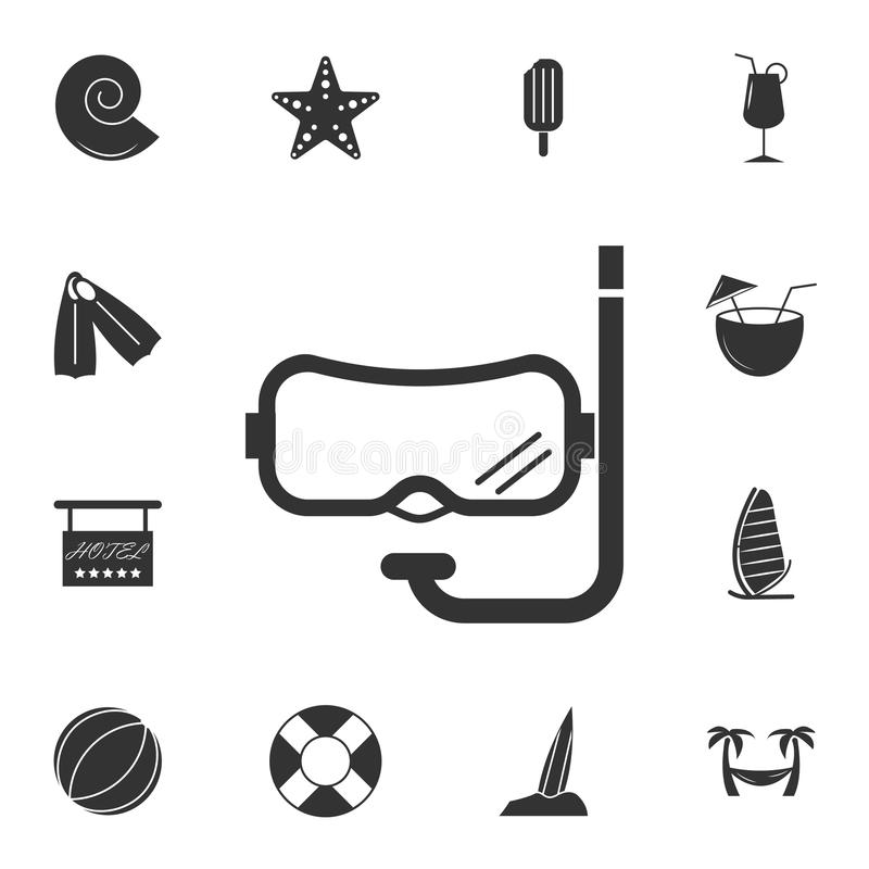 Nurkowa maskowa ikona Szczegółowy set podróży ikony Premia graficzny projekt Jeden inkasowe ikony dla stron internetowych, sieć p ilustracja wektor