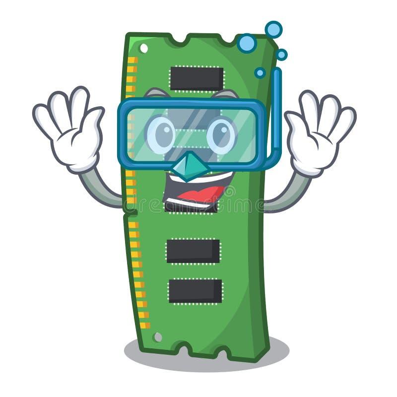Nurkowa RAM karta pamięci maskotka kształt ilustracji
