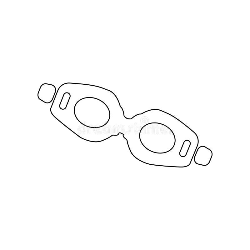 Nurkowa szk?o ikona Element pla?a dla mobilnego poj?cia i sieci apps ikony Kontur, cienka kreskowa ikona dla strona internetowa p royalty ilustracja