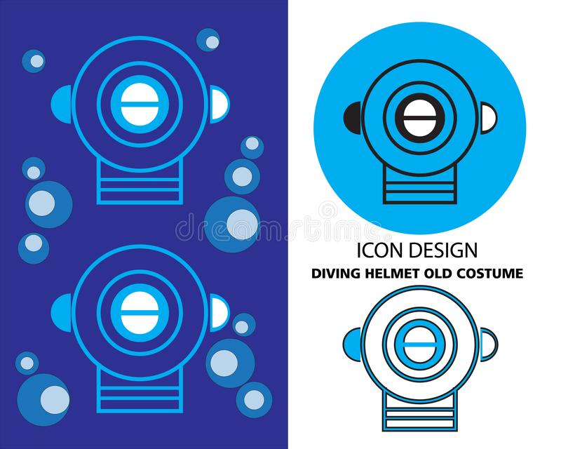 Nurkowego hełma ikony stary kostiumowy projekt ilustracji