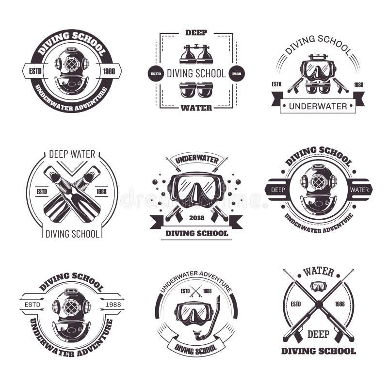 Nurkowego szkolnego promo monochromatyczni emblematy z wyposażenie setem ilustracja wektor