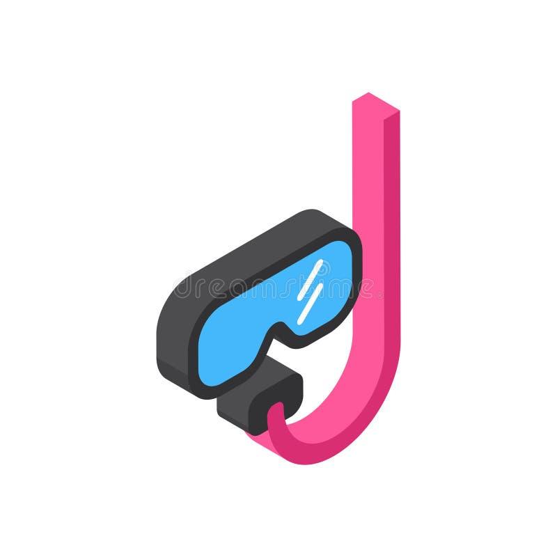 Nurkowej Maskowej ikony Isometric turystyka, Odosobniony podróży pojęcie I ilustracji