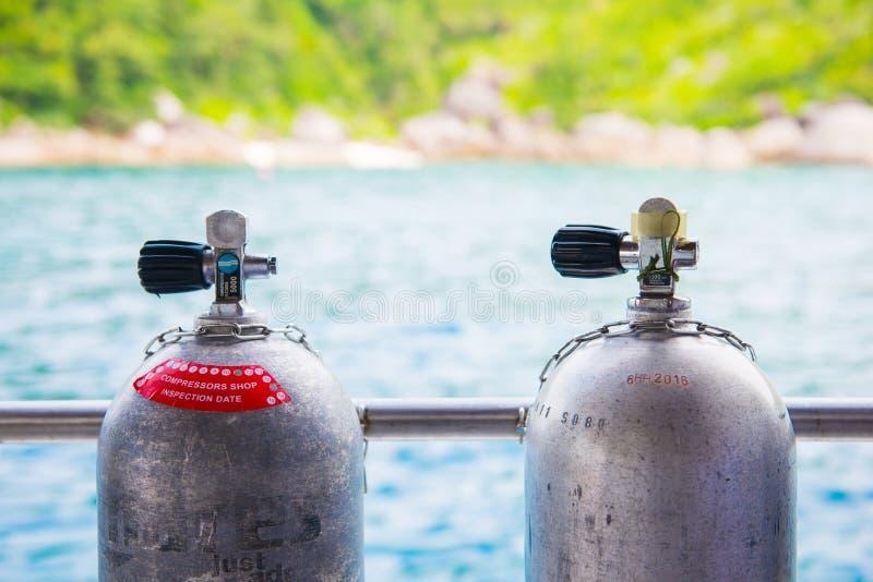 Nurkowy butli oddychania zbiornik dla akwalungu nurka obraz royalty free