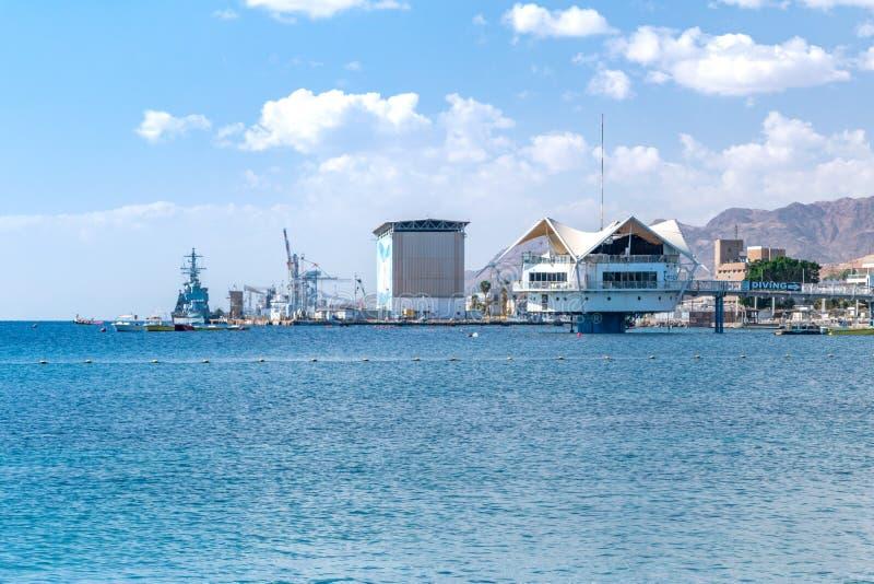 Nurkowy centrum Custo klub Ejlat na Czerwonym morzu i port obraz royalty free