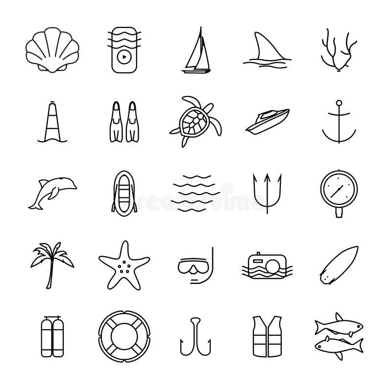 Nurkowych i wodnych aktywność ikon konturu ikony ilustracja wektor