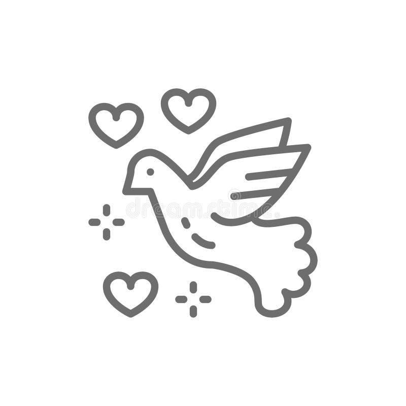Nurkujący pokój, miłość ptak, gołąb, pacyfizm kreskowa ikona royalty ilustracja
