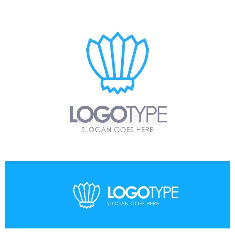 Nurkujący, żebra, Flippers, ocean, Plenerowy Błękitny konturu logo miejsce dla Tagline ilustracja wektor