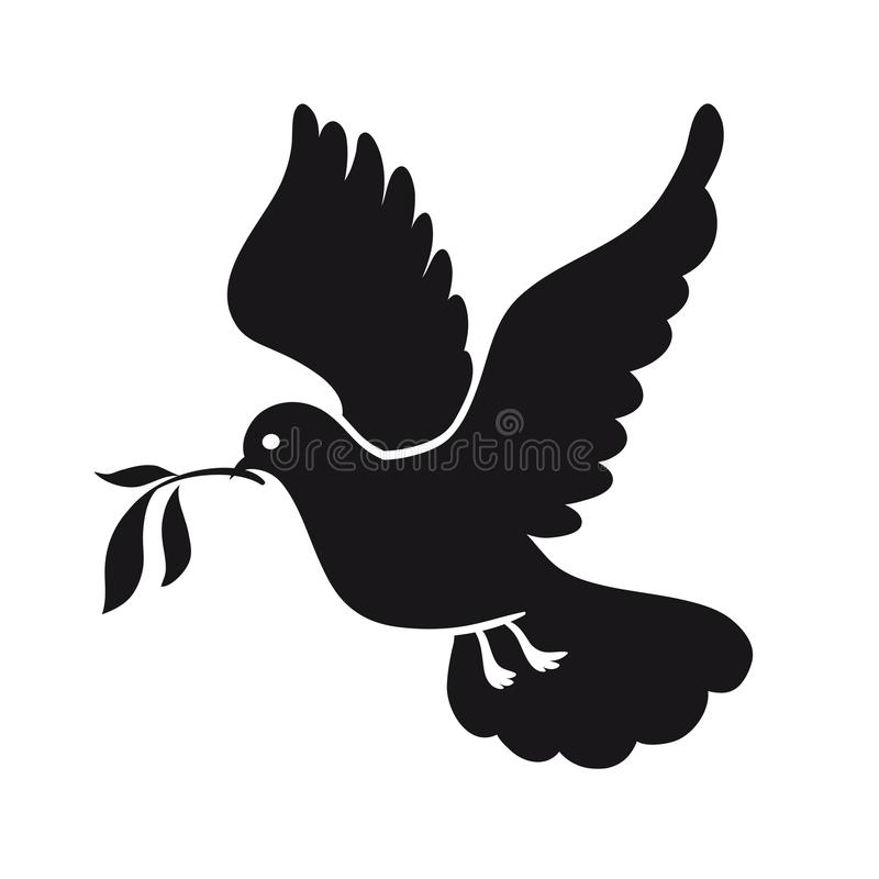 Nurkujący pokój Gołąb z gałązką oliwną dzień gołąbki kuli ziemskiej zawody międzynarodowe pokój Czarna ikona ilustracji