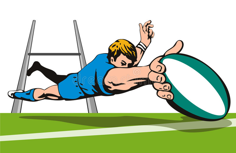 nurkuje zawodnika rugby b wyników ilustracji