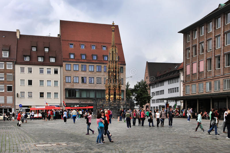 NURNBERG, GERMANY - JULY 13 2014: Hauptmarkt, the central square of Nuremberg, Bavaria, Germany. Nuremberg accommodates annually. More than 2 millions tourists royalty free stock photography