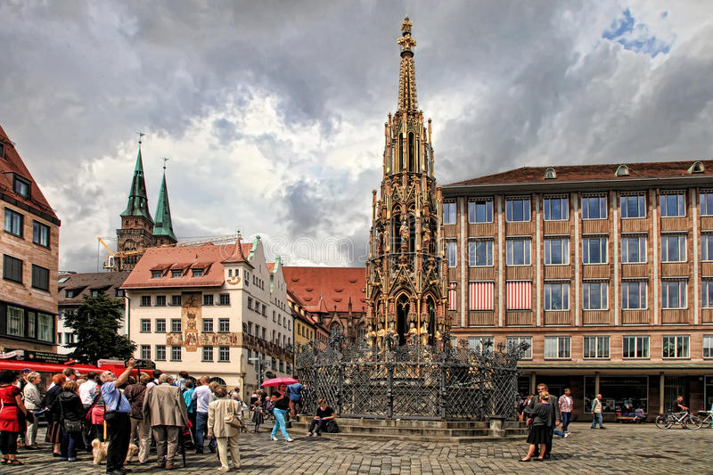 NURNBERG, GERMANY - JULY 13 2014: Hauptmarkt, the central square. Of Nuremberg, Bavaria, Germany. Nuremberg accommodates annually more than 2 millions tourists royalty free stock images