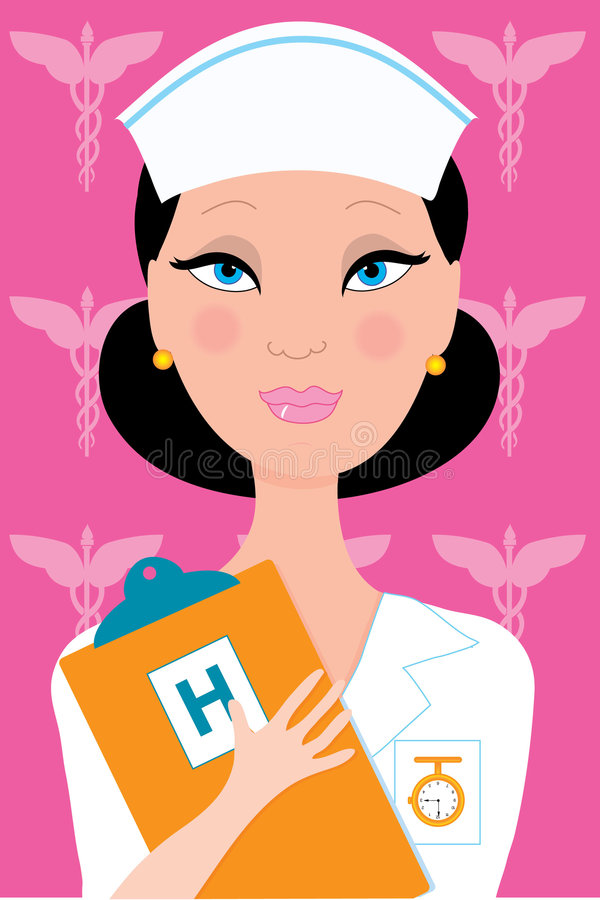 Nurse. Female nurse in uniform holding a clipboard vector illustration