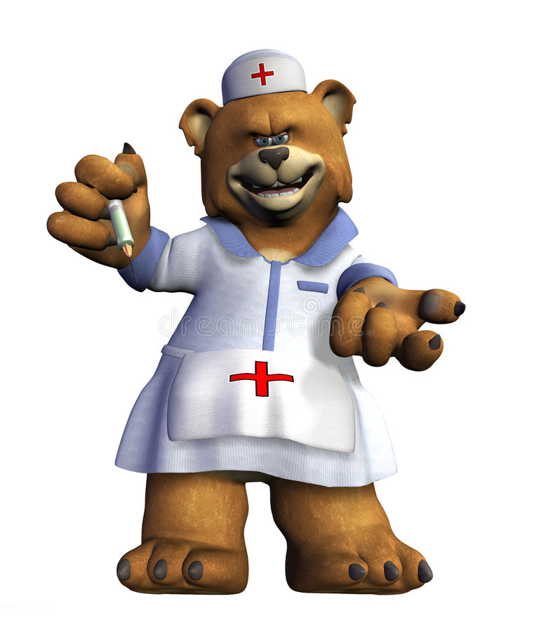 Nurse Bear - with clipping path royalty free illustration