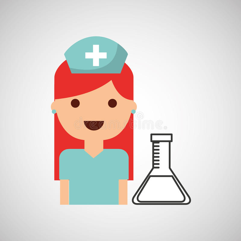 Nurse character test tube science chemical esign. Illustration vector illustration