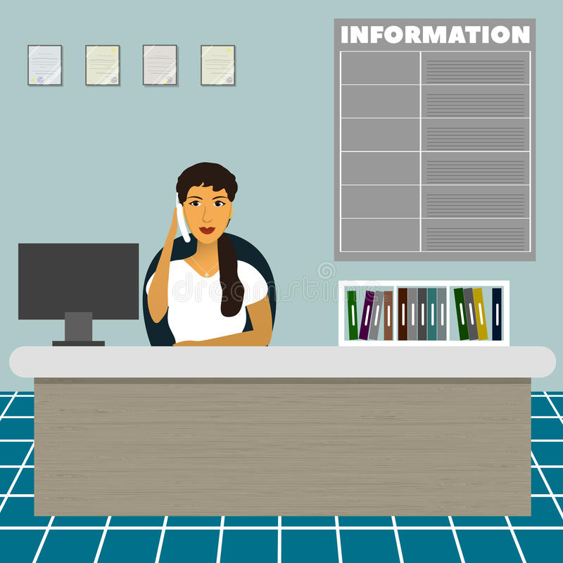 Nurse consultative administrator office worker secretary sitting at the table at the reception and talk on the phone royalty free illustration