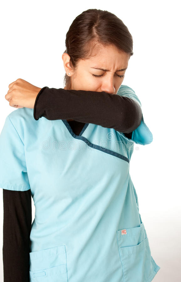 Download Nurse Coughing into Elbow stock image. Image of expression - 10767819