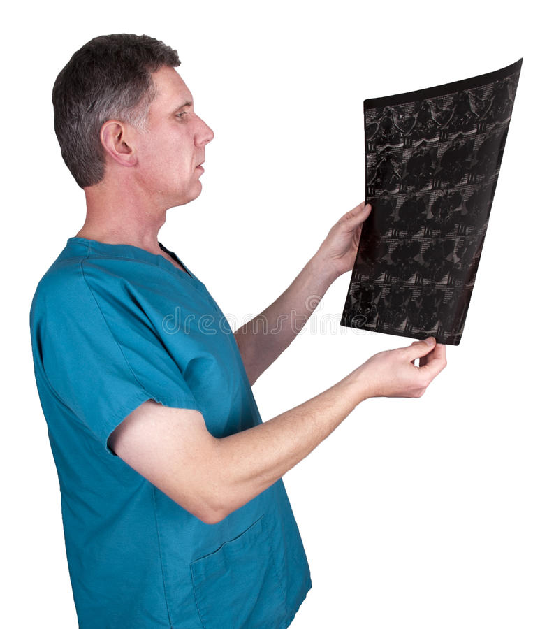 Nurse or Doctor, Medical Technician Look at Xray royalty free stock images