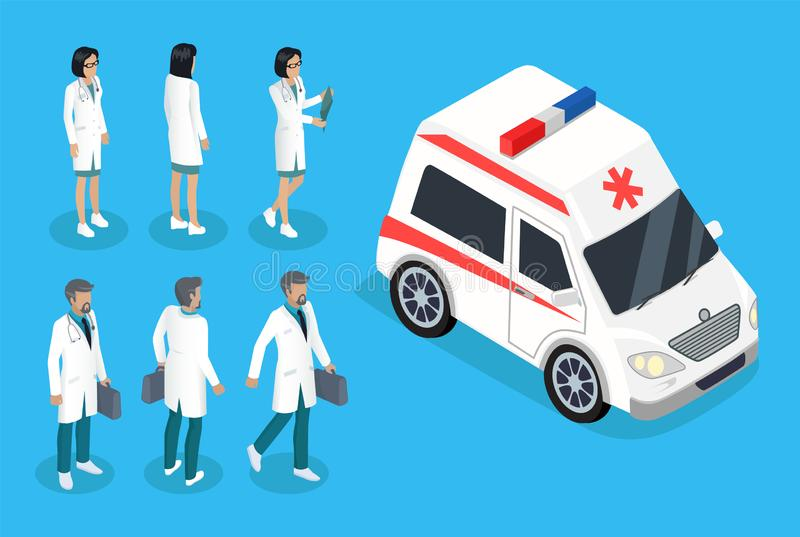 Nurse and Doctor Near Ambulance Car Color Banner. Isolated vector illustration of woman and man in robes near white vehicle, therapists and pediatricians royalty free illustration