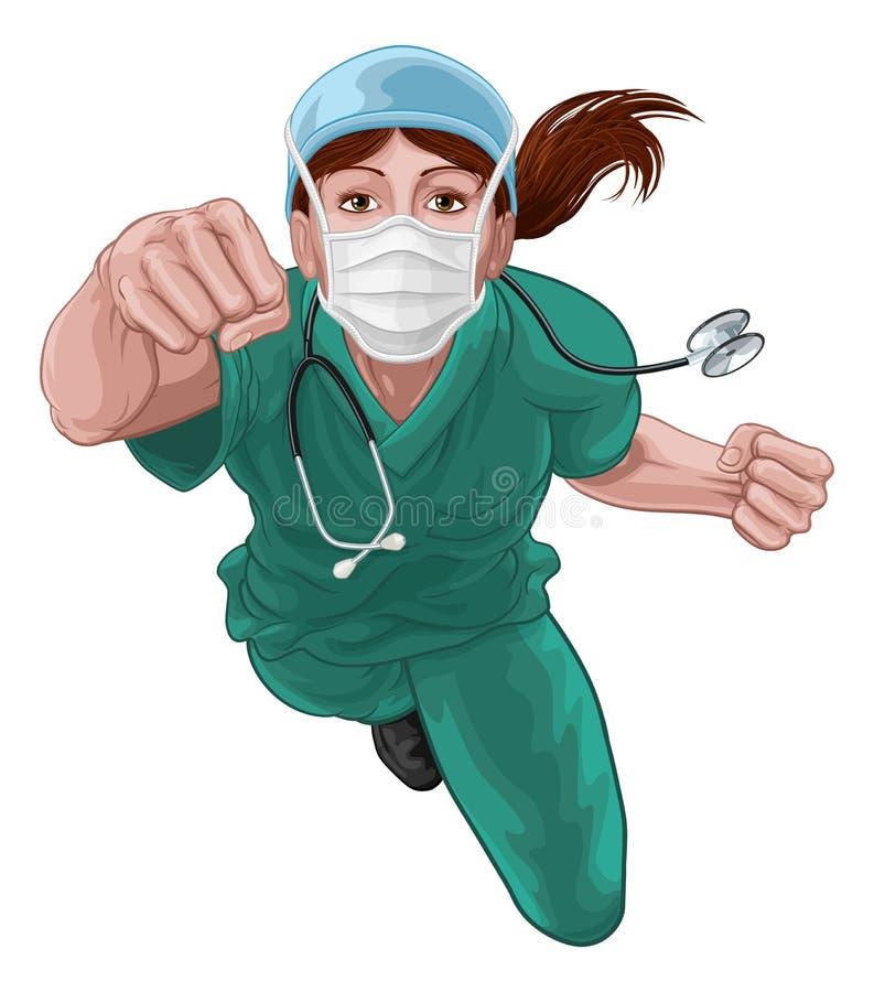 Free Nurse Doctor Woman Super Hero Medical Concept Royalty Free Stock Image - 182234696