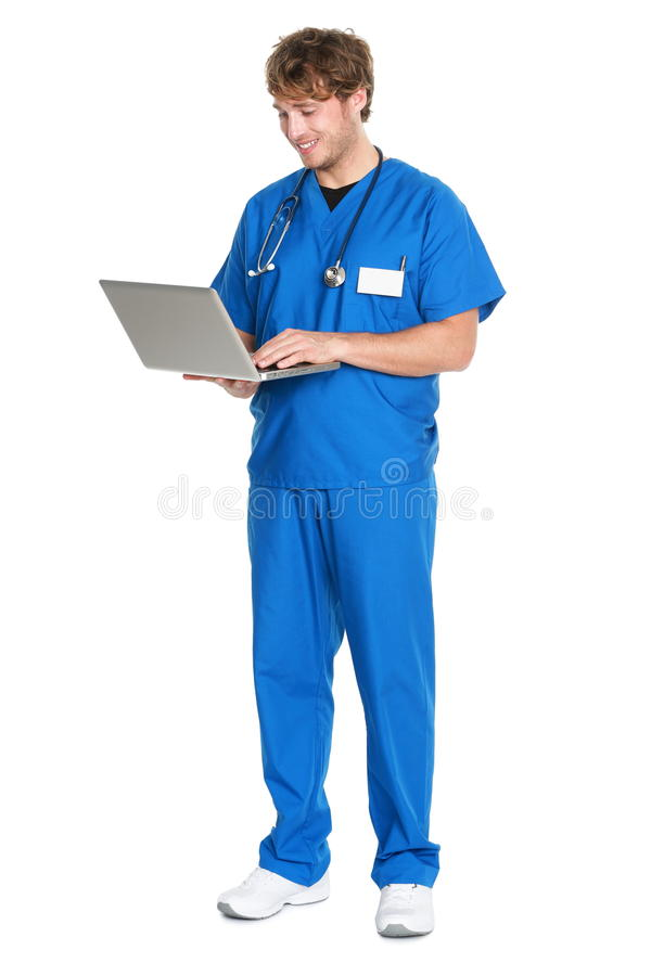 Nurse / doctor working on laptop stock photos