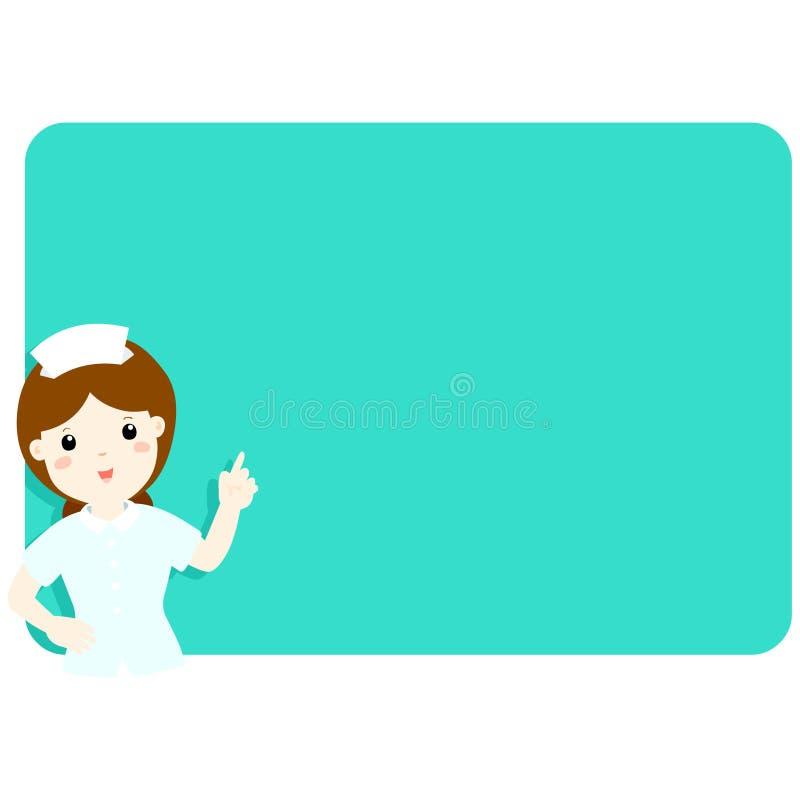 Nurse explains at the blank board royalty free illustration