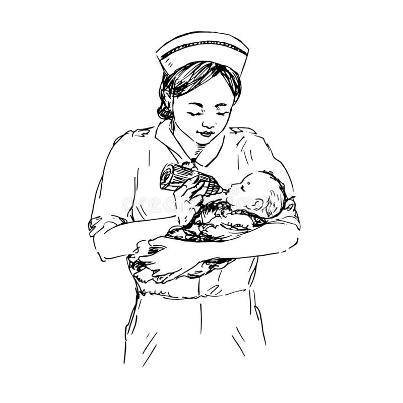 Nurse feeding newborn baby from bottle, hand drawn doodle, sketch, black and white vector illustration. Nurse feeding newborn baby from bottle, hand drawn doodle stock illustration