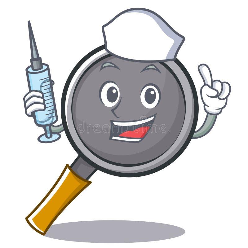 Nurse frying pan cartoon character. Vector illustration royalty free illustration