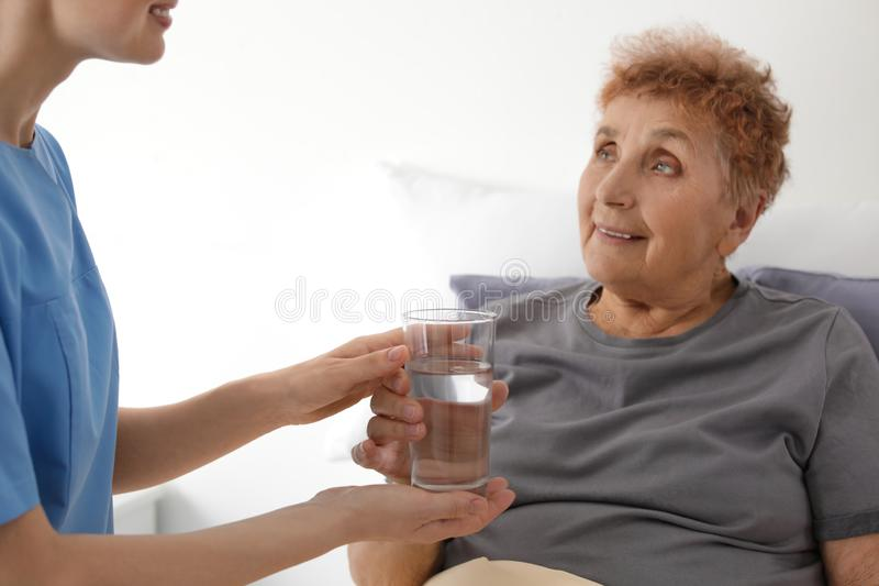 Nurse giving glass of water to elderly woman indoors royalty free stock photos
