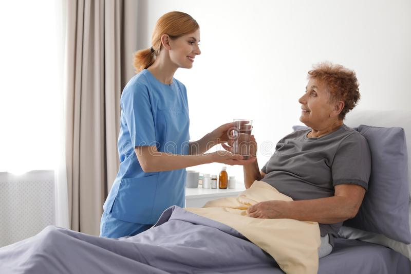Nurse giving glass of water to elderly woman. Medical assistance. Nurse giving glass of water to elderly women indoors. Medical assistance stock photo