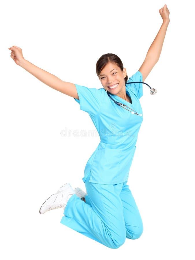 Nurse happy jumping royalty free stock photos