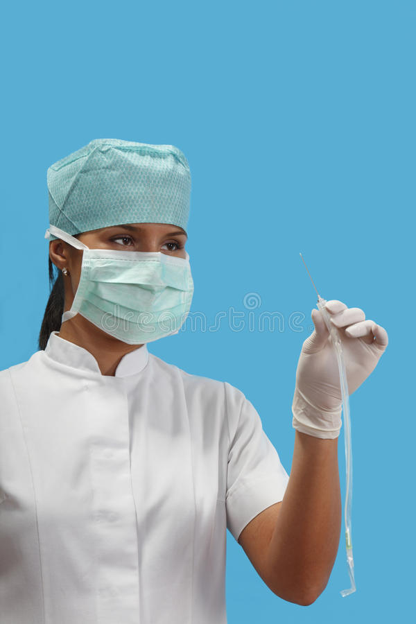 Nurse Holding An Arterial Catheter Royalty Free Stock Images