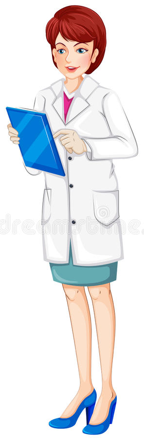 A nurse holding a chart. Illustration of a nurse holding a chart on a white background vector illustration