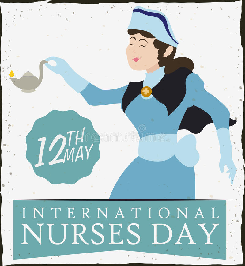 Nurse Holding a Oil Lamp in Nurses Day Retro Poster, Vector Illustration stock illustration