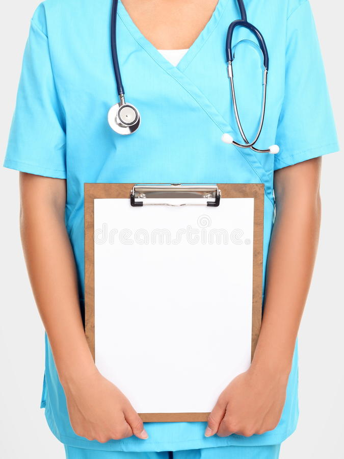 Nurse Holding Sign Royalty Free Stock Photography
