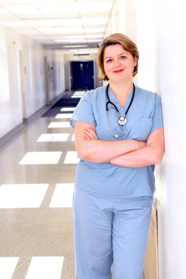 Nurse in a hospital stock photo