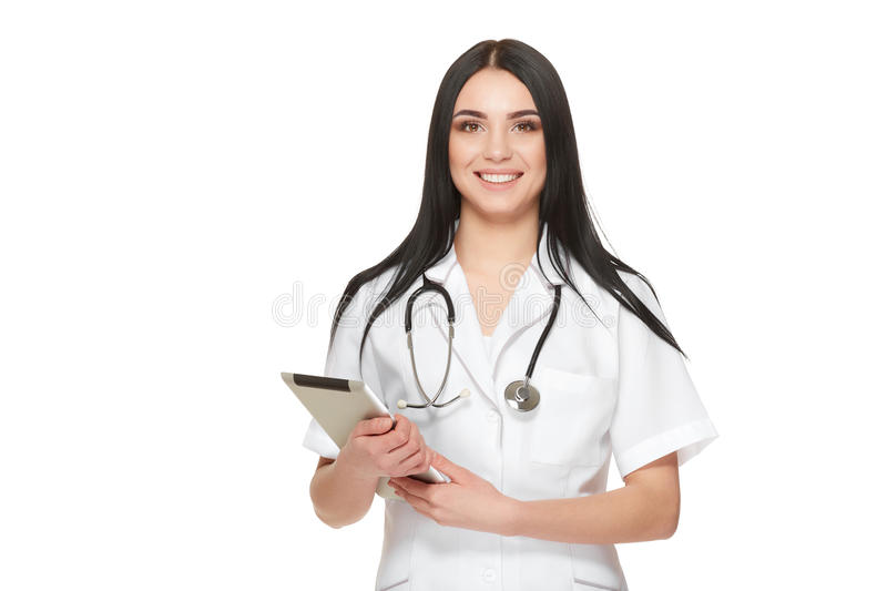 Nurse at hospital holding documents with information about of patient. royalty free stock photography