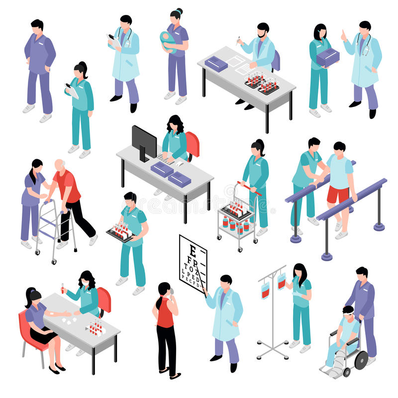 Nurse Hospital Isometric Set医生的 库存例证