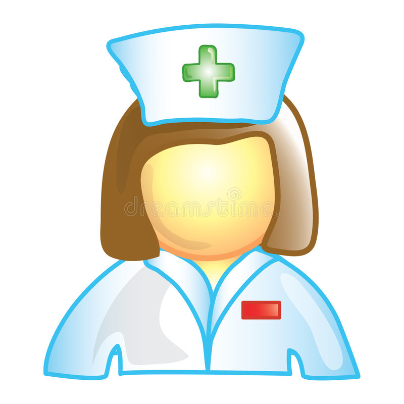 Nurse icon. Stylized icon of a female nurse (File 1 of 20 in this series)