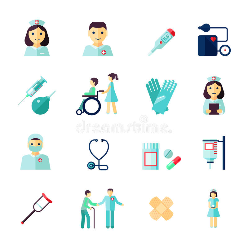 Nurse icon flat. Nurse health care medical icons flat set isolated vector illustration stock illustration
